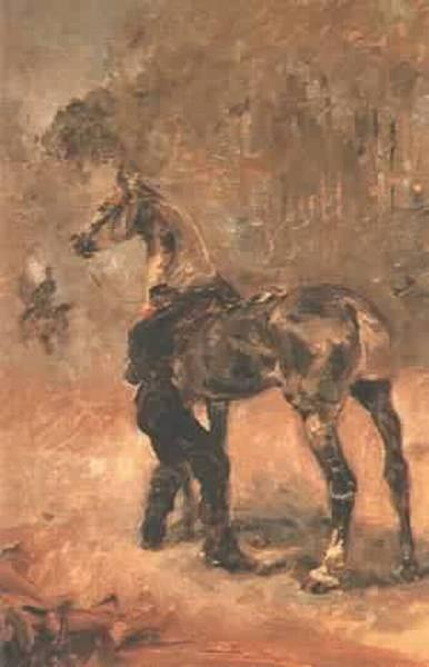 Artilleryman Sadding a Horse 1879